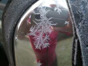 David in the frosty rear-view mirror