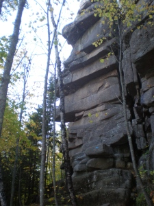 Another beautiful, rocky trail. See that blue mark? That's the way up and over left!
