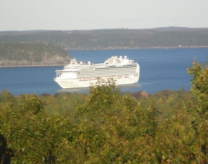 Giant cruise ship in Frenchman's Bay