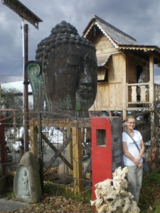 Your choice of giant Buddha head, handmade wooden tea house or custom-forged gates and fences