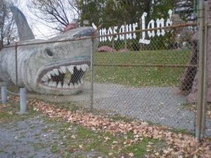 A fearsome shark(dinosaur?). Don't worry, he's behind a fence.