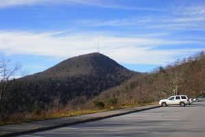 Here's Pisgah from the upper parking lot. The Shut-In trail led to this spot, then we hiked up to the tower.