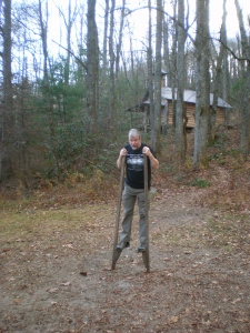 Here's David, trying out the stilts. I would have hurt myself!