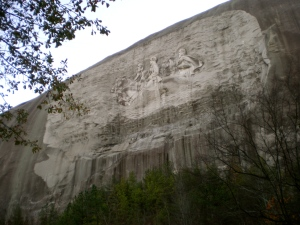 Stone Mountain, with it's bas relief of Jefferson Davis, Robert E. Lee and Stonewall Jackson