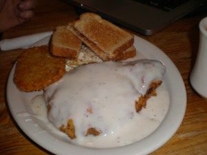 David tried a Chicken Fried Steak for breakfast!