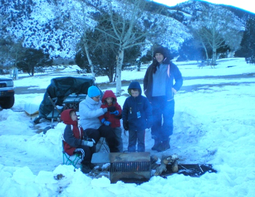 from left, Mark, me, Adin, Asher and Marci, their mom. Adin is still very little, so he got cold, cried, and went back inside before he cooked a dog.
