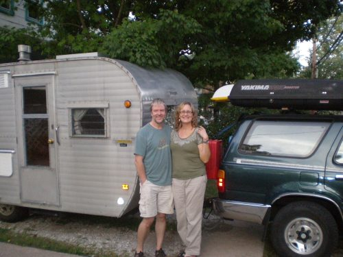 In our own driveway, in Baltimore. No room in the house, so we slept in the Tramper in our driveway!