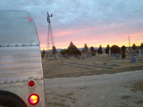 Marathon Cemetery, Marathon, TX. Our first night in a cemetery. So quiet!