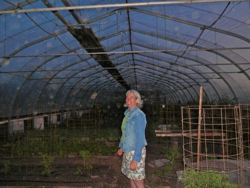 Here's Dru in the Hoophouse. Caught you with your eyes closed! Sorry, Dru!
